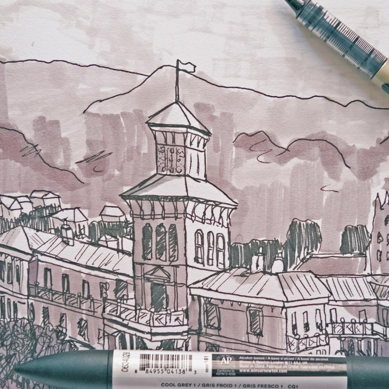 Drawing of a heritage building with pens